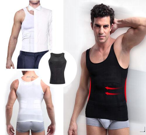 Men/'s Slimming Body Shaper Waist Trainer Vest Gym Tops Belly Compression Shirt