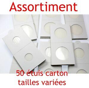 Assortiment-de-50-etuis-carton-autocollants-pour-pieces-de-monnaie-en-Franc
