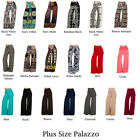 PLUS SIZE Solid Womens Stretch PALAZZO Pants Fold Over High Waist XL 2XL 3XL