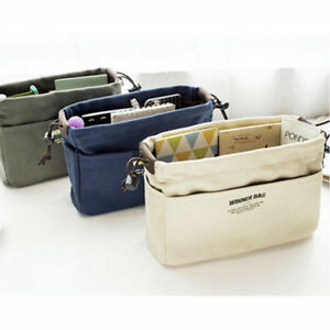 NEW Canvas Organizer Bag Organizer Insert with Compartments Makeup Handbag HC