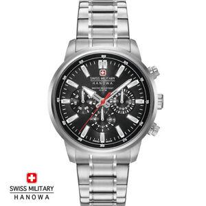 Swiss-Military-Hanowa-06-5285-04-007-Horizon-schwarz-Edelstahl-Herren-Uhr-NEU