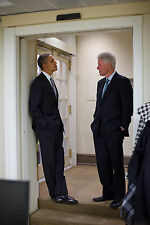 PRESIDENT BARACK OBAMA AND BILL CLINTON 8X10 GLOSSY PHOTO PICTURE