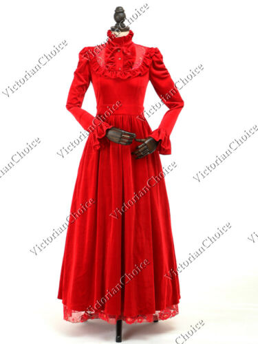 Victorian Plus Size Dresses | Edwardian Clothing, Costumes    Victorian Edwardian Vintage Red Velvet Dress Theater Christmas Holiday Gown 115  AT vintagedancer.com