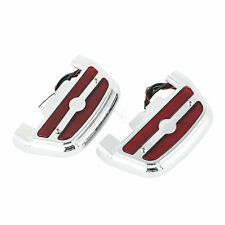 Red LED Passenger Footboard Floorboard Cover For Harley Touring Electra Glide