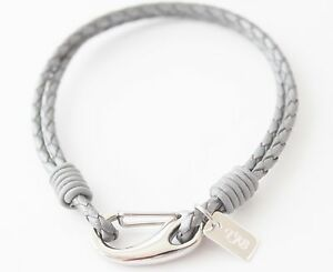 Image Is Loading Geneva Boys Grey Leather Bracelet With Sterling Silver