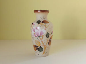 Antique Glass Vase with Hand Painted Flowers - <span itemprop='availableAtOrFrom'>Penzance, Cornwall, United Kingdom</span> - Returns accepted Most purchases from business sellers are protected by the Consumer Contract Regulations 2013 which give you the right to cancel the purchase within 14 days aft - Penzance, Cornwall, United Kingdom