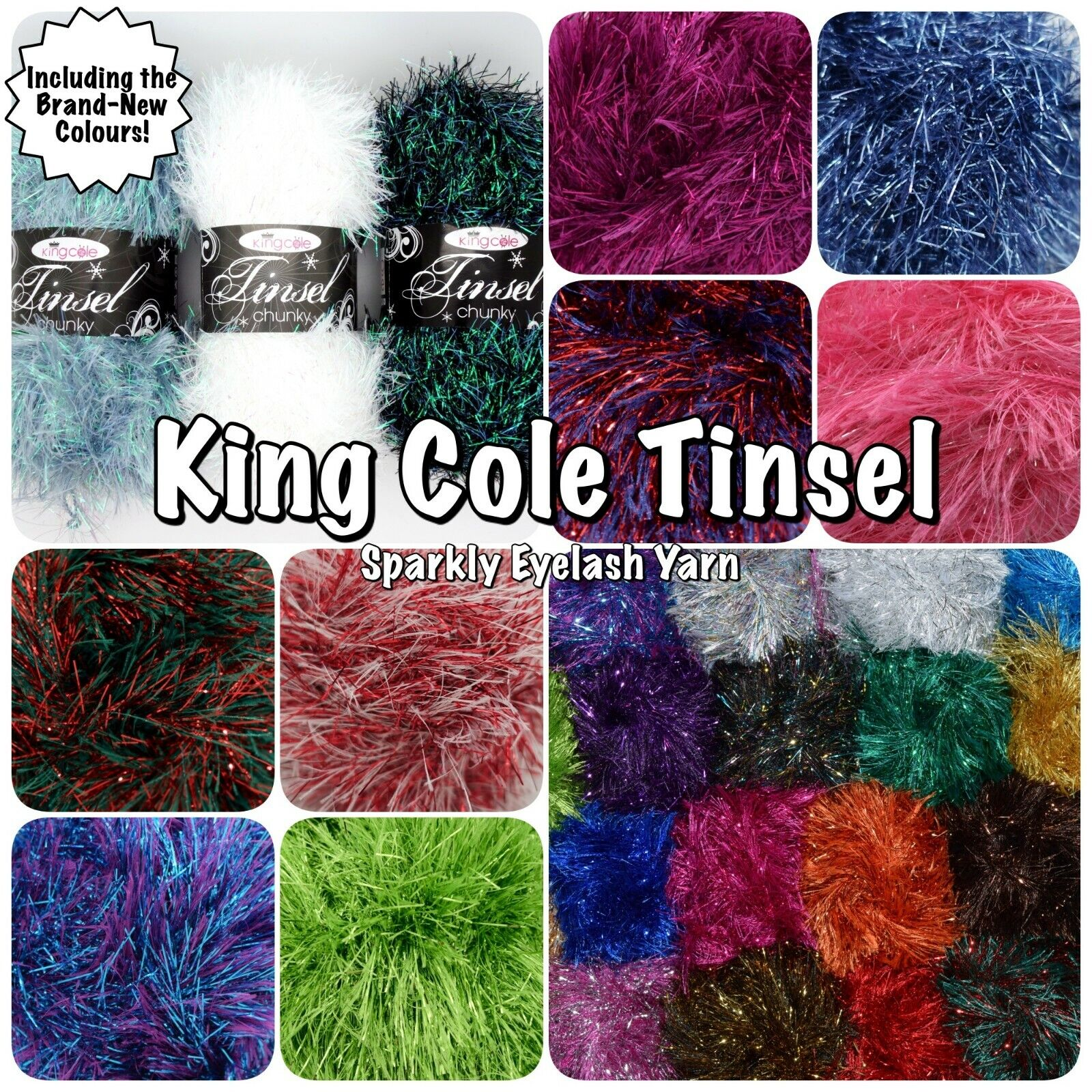 King Cole Tinsel Chunky 50g Balls Fluffy Glittery 75/% Polyester 25/% Lurex