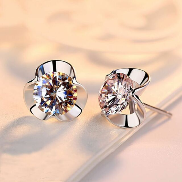 1 Pair Women Clover Silver Crystal Rhinestone Stud Earrings Jewelry Gifts