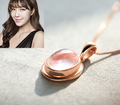 New 925 sterling silver lady fashion women necklace pendant rose gold gift r