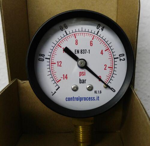 "VACUOMETRO 63mm 1//4/"" VUOTOMETRO CASSA IN METALLO CLASSE 1.6 1,0 BAR Diam"