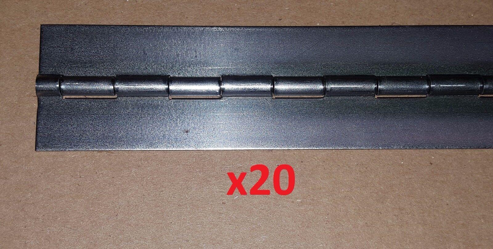 20 pc .050 Steel Piano Hinge 22-1 4 x 1-1 4 Cabinet Door Continuous Lot