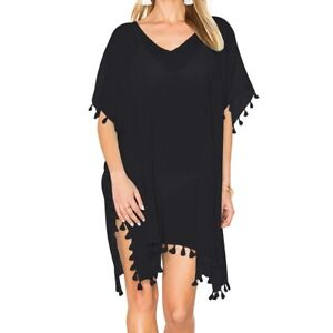 7ee24f6e1400d Women's Black Chiffon Tassel Swimsuit Bikini Beach Dress Cover up ...
