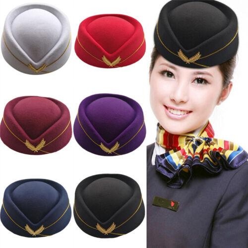 Cosplay Stewardess Cap Hut Wolle Uniform Flugzeug Fans Frauen Bühne Perfo YLW