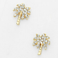 """Tiny Palm Tree Stud Earrings 1/2"""" Post Backs Pave Rhinestone Crystals GOLD CLEAR"""