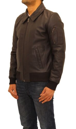 Men/'s Dark Brown Premium Cow Hide Leather Smart Classic M-1 Bomber Fitted Jacket