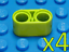 Lot of 4 NEW Lime Green LEGO Technic Liftarm Beam 2 x 1 Thick Wide Part #43857