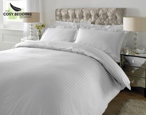 White 100/% Cotton Luxury Bedding Set 300 Thread count Sateen Stripe Duvet Cover