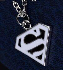 Superman Black-White Pendant Necklace with Chain Super Man S Logo Silver Colour