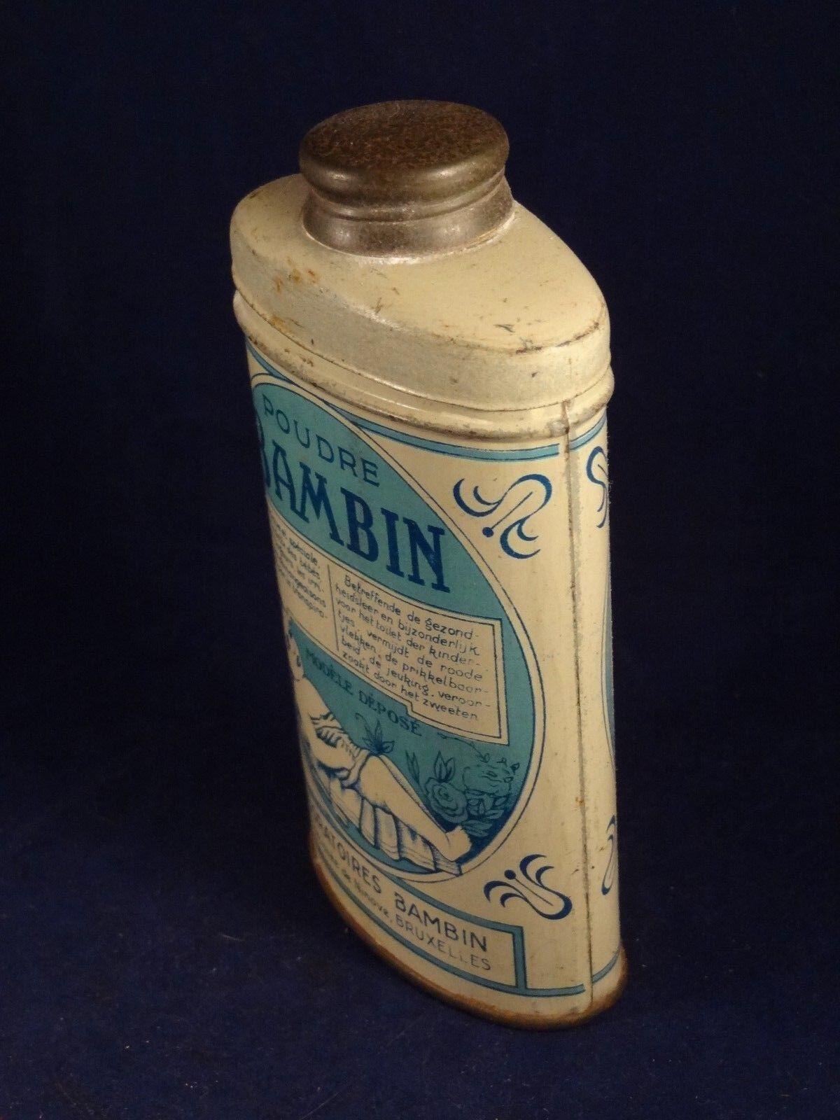Ancienne boîte tôle fer bébé poudre BAMBIN  ina ina ina Bruxelles 1920 déco 5dc7c5