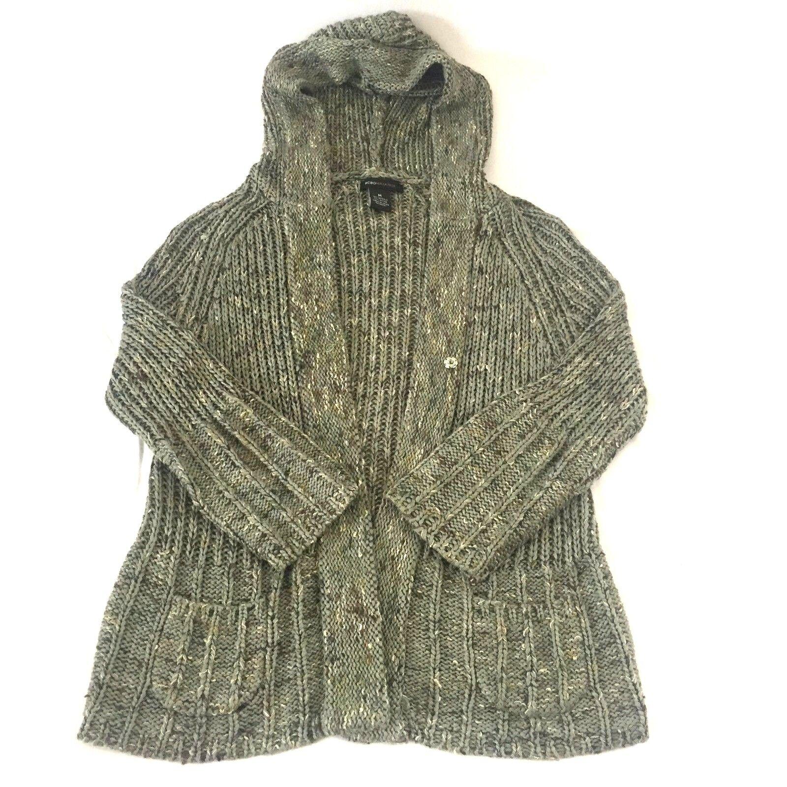 BCBG Maxazria Women's M Hoodie Green Knit Cardigan