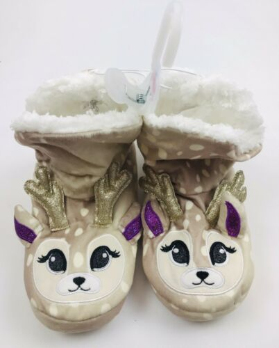 NWT Justice Girls Reindeer Boot Slippers Plush Deer Girl Shoe Size 6-7