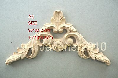 Adaptable 10*10*0.8 30*30*2cm Wood Carving Corner Onlay Applique Unpainted Decoration A3 Home & Garden Other Home Furniture