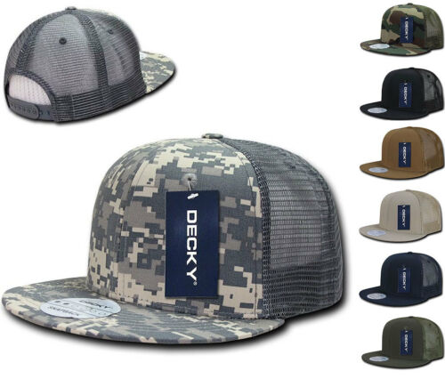 8 Lot DECKY Military Army Camo ACU Ripstop Flat Bill Trucker Cotton Hats Caps