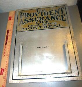 VINTAGE-Provident-Assurance-co-Montreal-Canada-Metal-calendar-Holder-sign