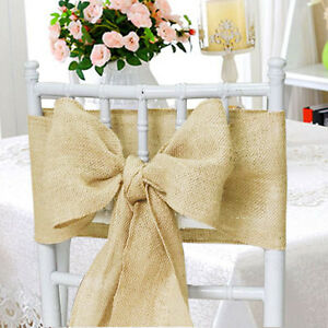 Chair Cover Bows hessian sashes chair cover bows jute burlap vintage rustic wedding