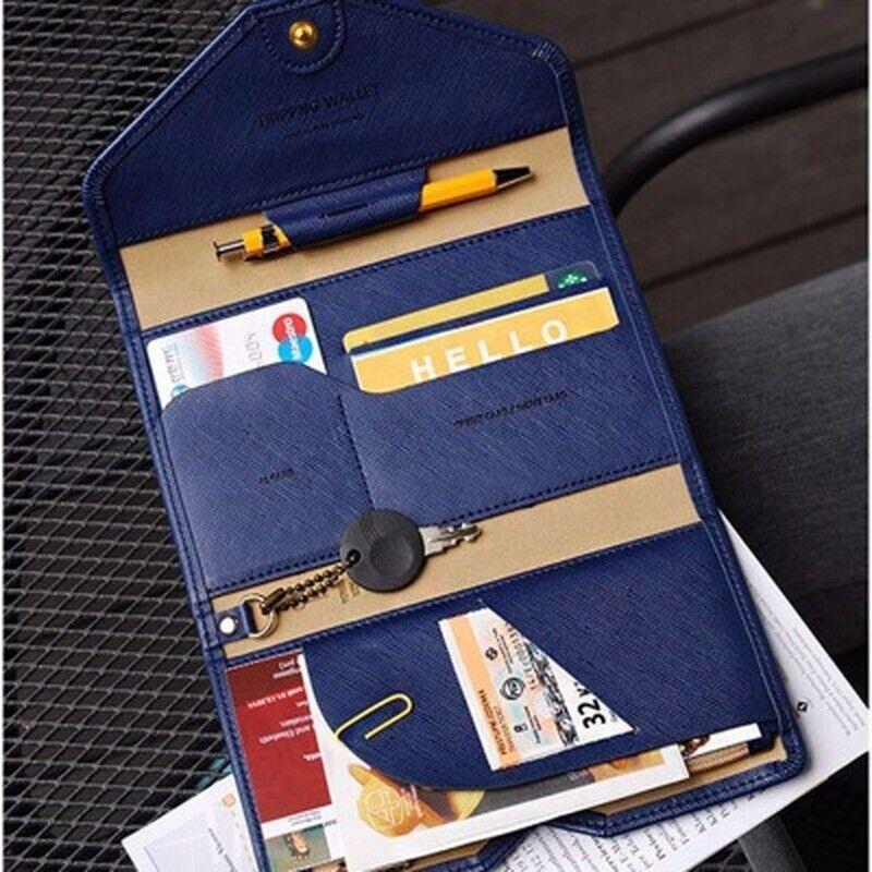 Multi-purpose Rfid Blocking Travel Passport Wallet Tri-fold Organizer Holder