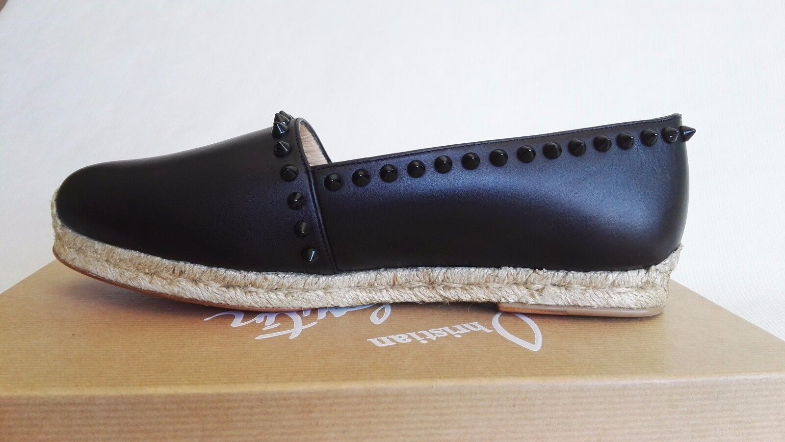 CHRISTIAN LOUBOUTIN BLACK ARES 34 4 LEATHER ESPADRILLES FLATS FLATS FLATS WOMAN SHOES SPRING 4614bf