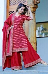 Women Indian kurta dress dupatta sharara bottom kurti cotton pink Combo Ethnic