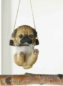 Hanging-pug-dog-puppy-swing-tree-Statue-outdoor-sculpture-yard-lawn-ornament