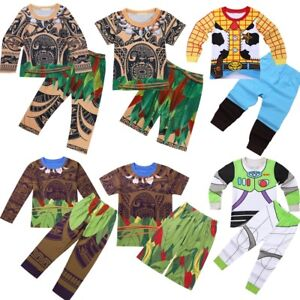 2pcs-Kid-Baby-Boys-Girls-Maui-Cartoon-Sleepwear-Nightwear-Pjs-Pajama-Costume-Set