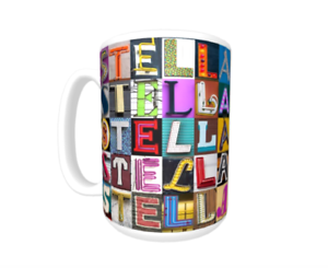 Cup featuring the name in photos of sign letters STELLA Coffee Mug