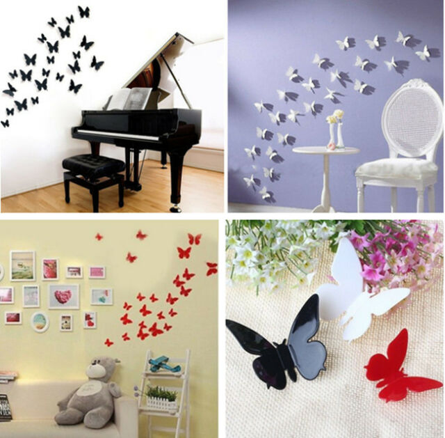 12 pcs 3D DIY Wall Sticker Stickers Butterfly Home Decor Room Decorations