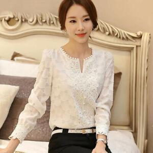 Autumn Womens Long Sleeve Lace Crochet Chiffon Casual Office T Shirt Blouse Tops