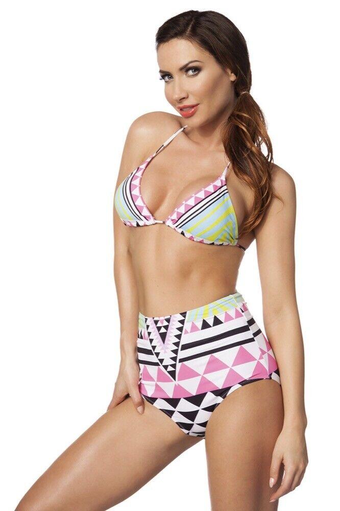 Bikini estivo triangolo rosa nero bianco vita alta design geometrico uy 14634