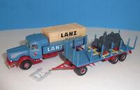 BÜSSING 8000 LANZ Bulldog + Rungenanhänger + Lanz Metall Modell _ Brekina 1:87