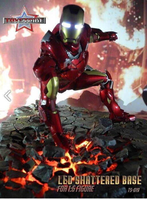 1 6 TOYSTRIKES Led Shatterot Base pour figurines 1 6 Hot toys Iron Man