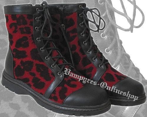 Inamagura 8-Loch Damen Stiefel Leopard Rot Schwarz Reißverschluss Fell Boots