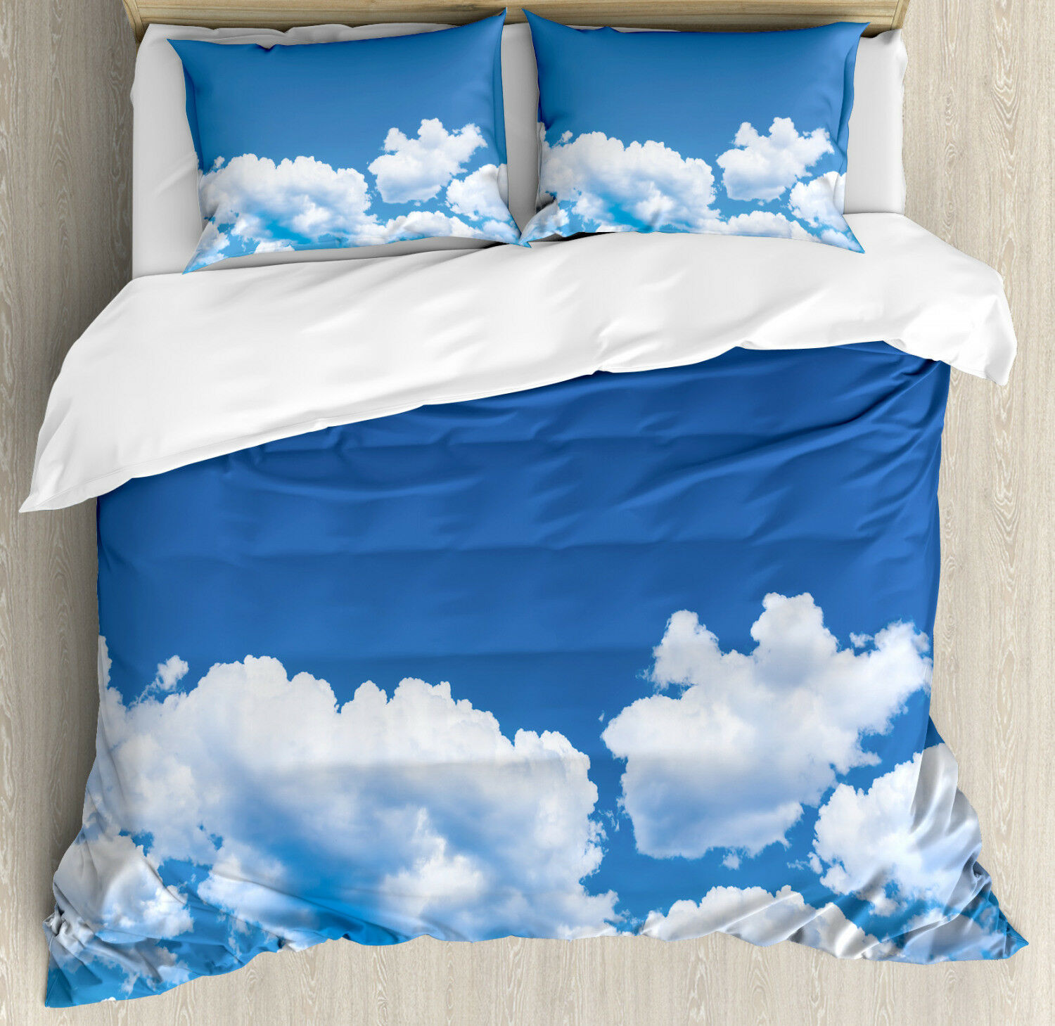 Clouds Duvet Cover Set with Pillow Shams Summertime Nature Scene Print