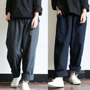 ZANZEA-Femme-Oversize-Taille-elastique-Bande-Simple-Casual-Pantalon-Sarouel