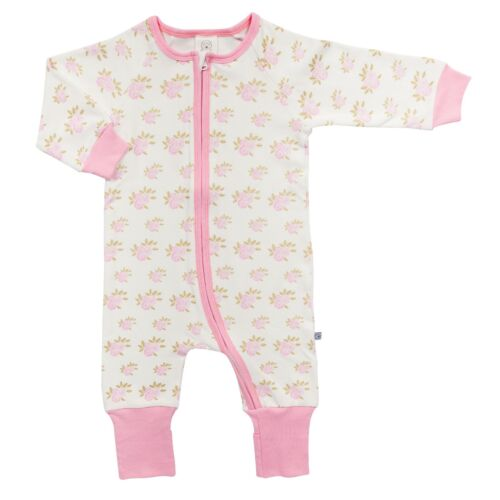 Zip Up Baby Grow,Pink Floral Rose Size 0-3 Months