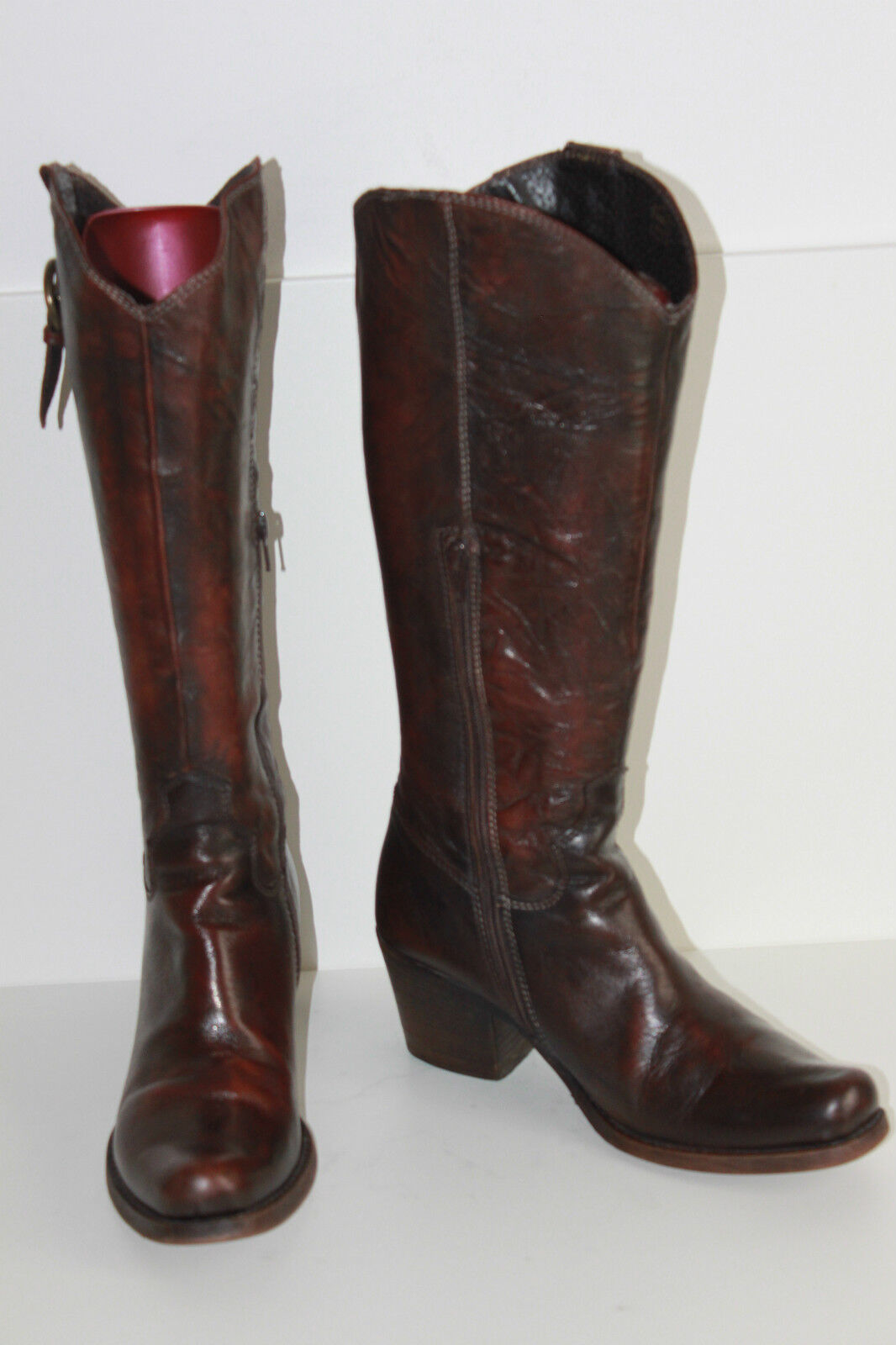 Boots SAN MARINA Leather Crumpled Cognac Moderate T 38 BE