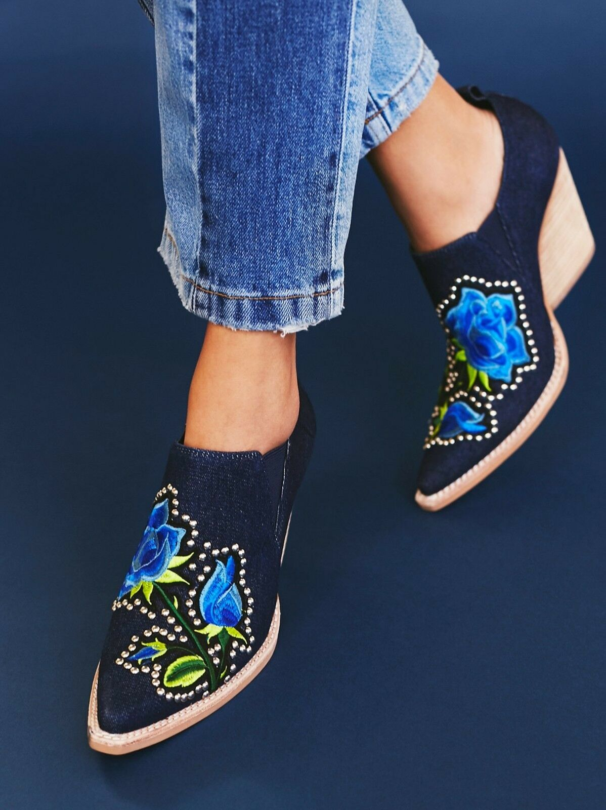 Jeffrey Campbell Free People Knockout Blau Denim Floral Ankle Boot Bootie Sz 9.5