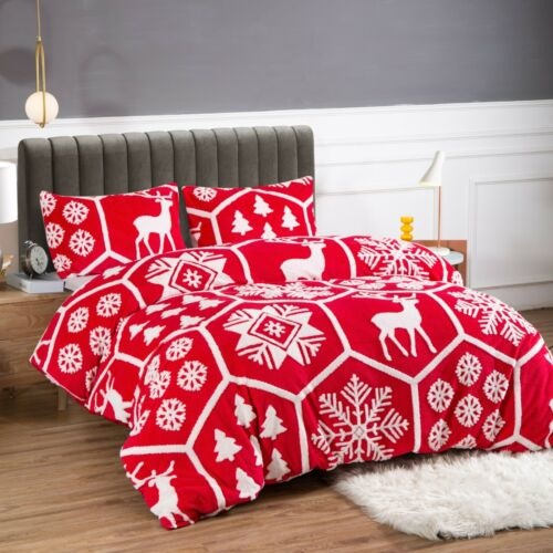 Christmas Print Duvet Cover with Pillow Case Bedding Set Single Double King Size