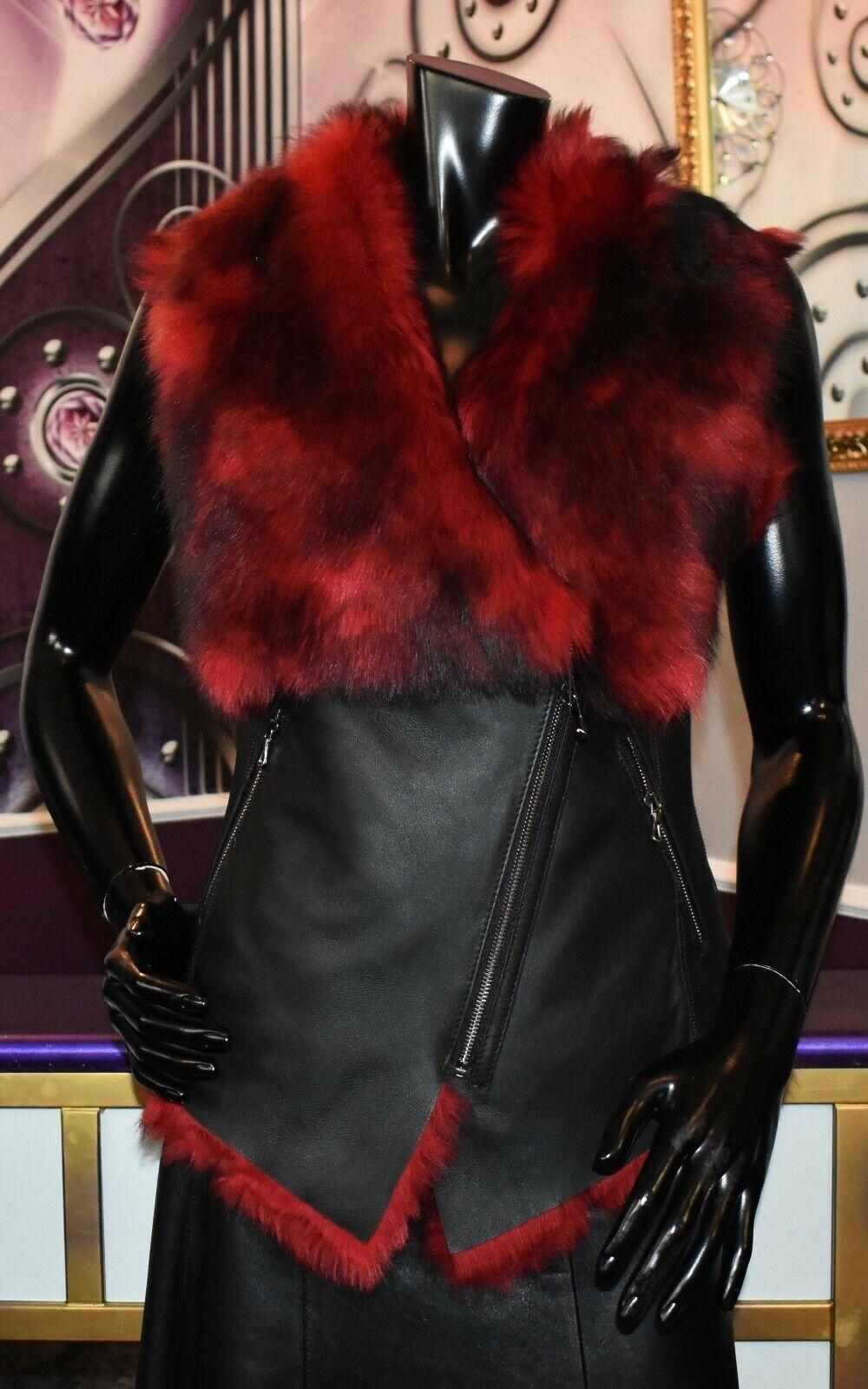 lyx Designer Ladies Lamb Fur Vest Med Toscana Fur Winter Gilet Storlek 36 NEW