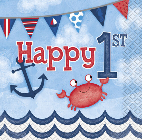 ~ First Party Supplies Serviettes Blue 1st BIRTHDAY NAUTICAL SMALL NAPKINS 16