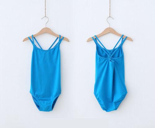 New Kids Girls Pink Blue Black Sleeveless Lycra Ballet Dance Leotard Camisole